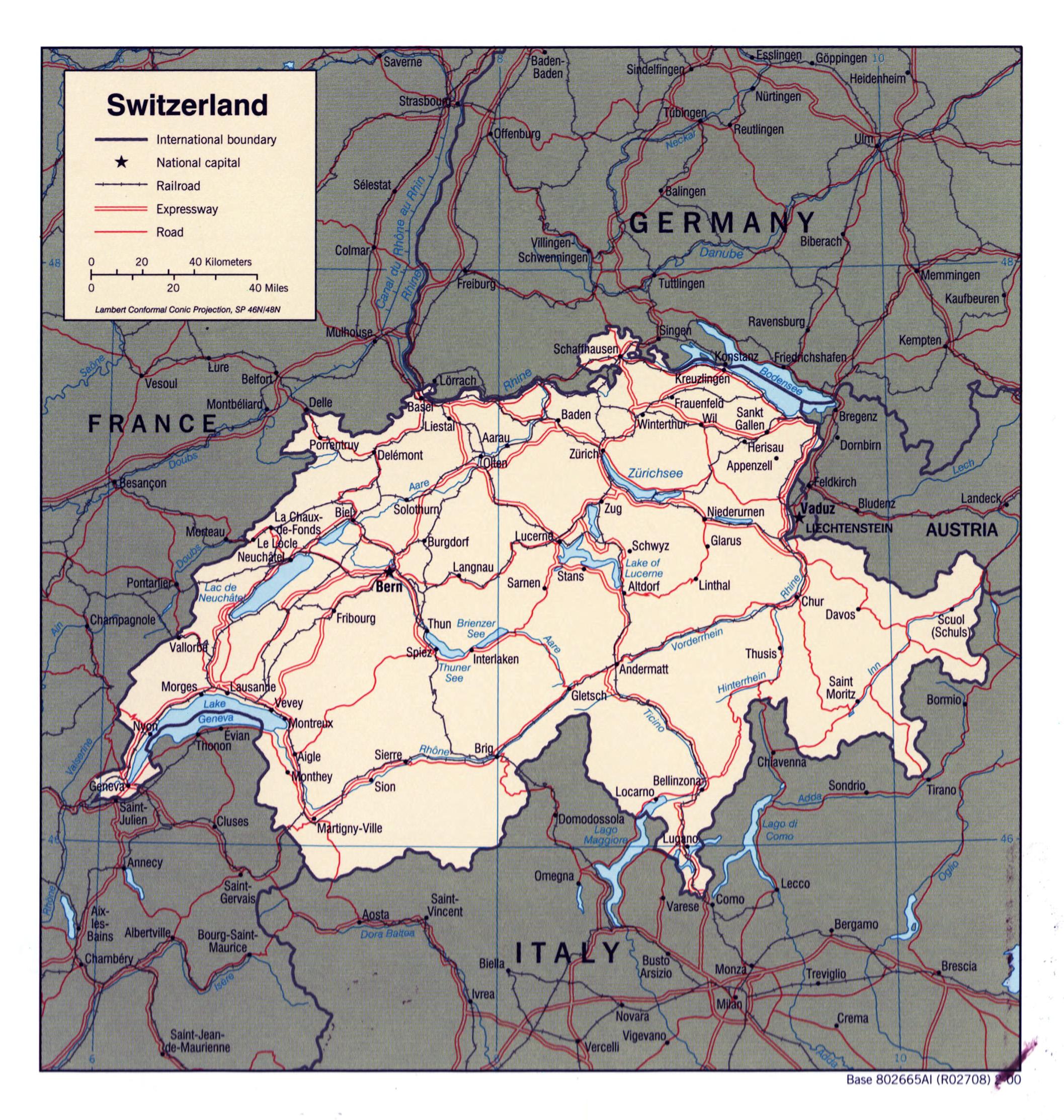 Mapa Politico De Suiza.Grande Detallado Mapa Politico De Suiza 2000 Suiza