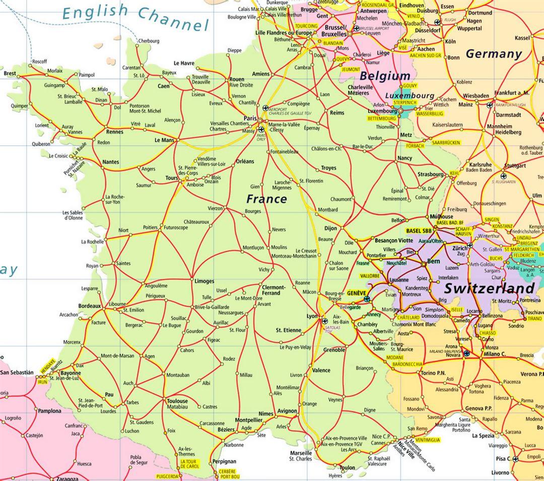 Mapa De Carreteras De Francia Y Suiza Suiza Europa Mapas Del