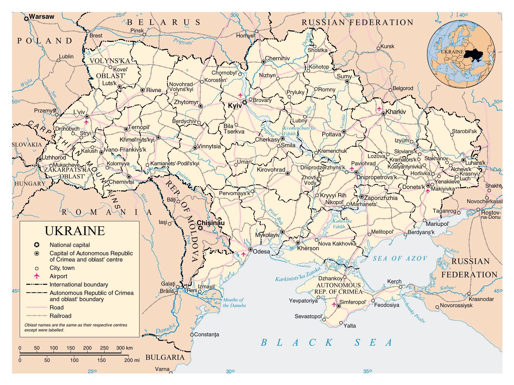 Grande Mapa Politico Y Administrativo De Ucrania Con Carreteras