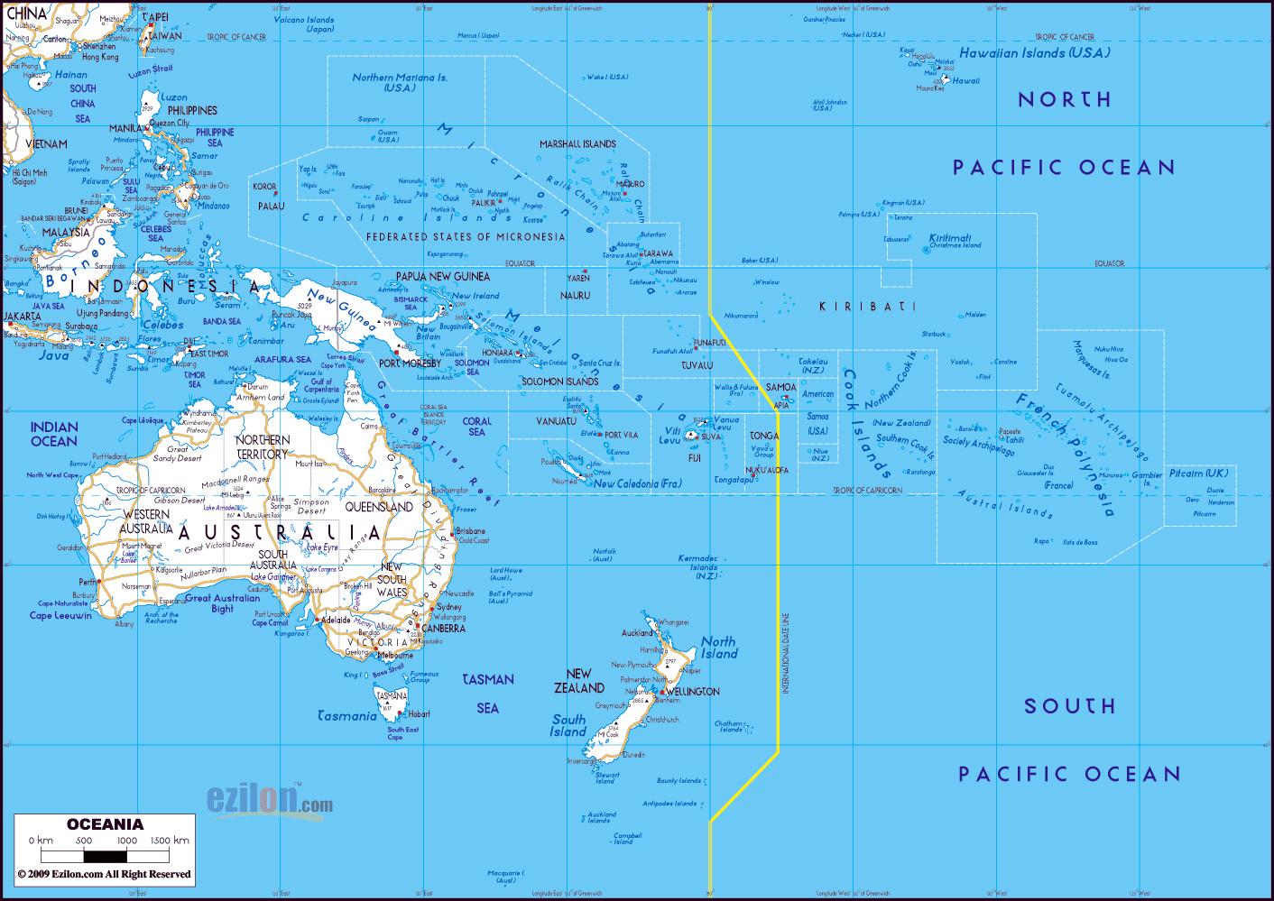 Gran Mapa De Carreteras De Australia Y Oceania Con Las Principales