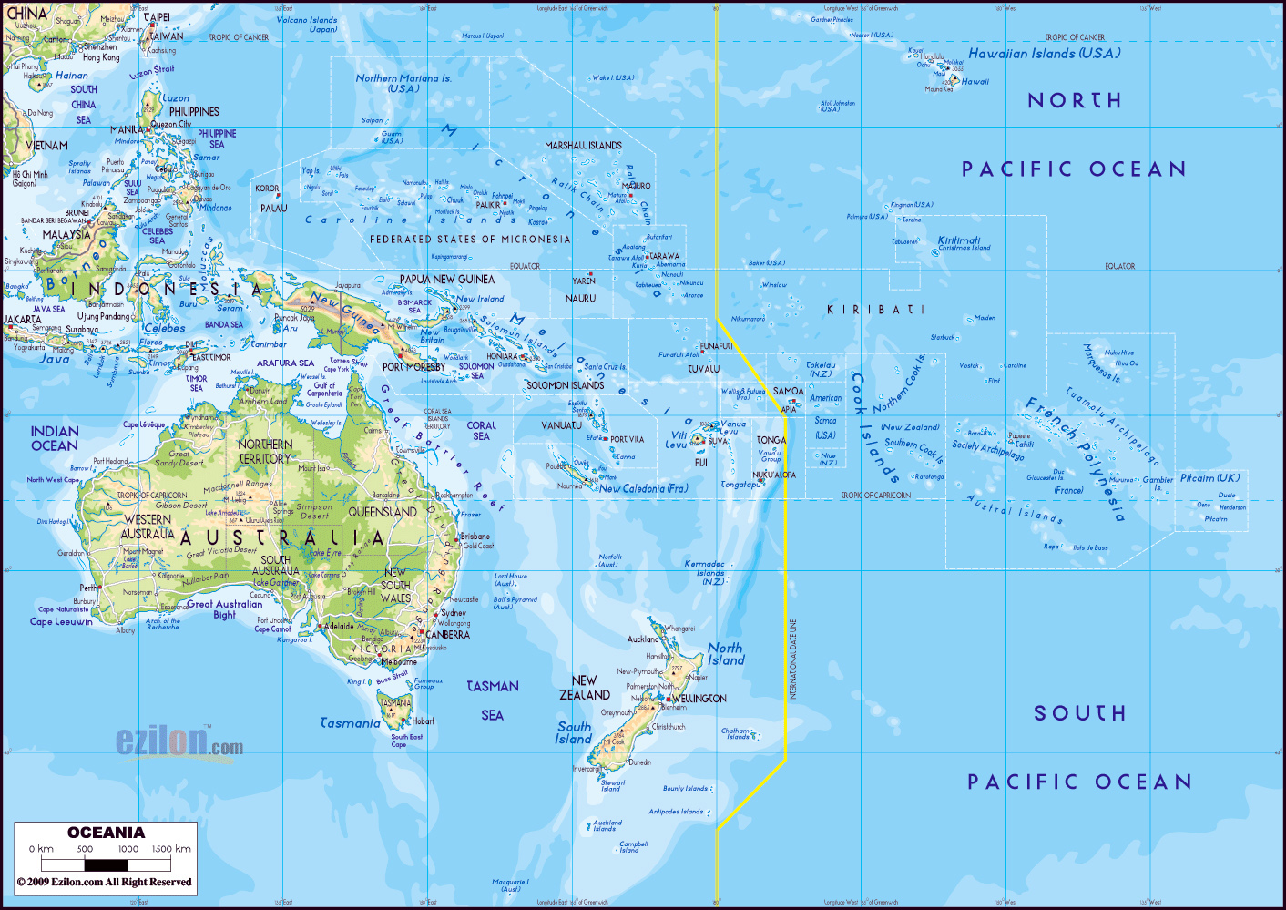 Mapa Fisico Grande De Australia Y Oceania Con Las Principales